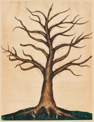 Painted and Pen and Ink Patience Clapp and John James Family Tree