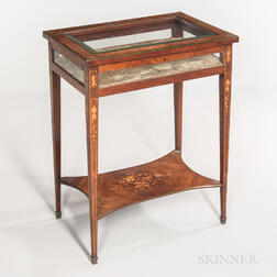 Mahogany, Kingwood-veneered, and Marquetry Vitrine Table