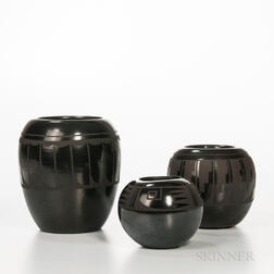 Three Southwest Black-on-black Pottery Jars