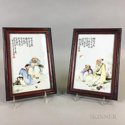 Pair of Enameled Porcelain Plaques