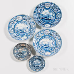 Five Staffordshire Historical Blue Transfer-printed Landing of the Fathers at Plymouth Plates