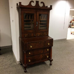Classical Glazed Mahogany Veneer Desk/Bookcase