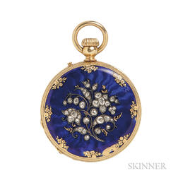 18kt Gold, Enamel, and Diamond Hunter Case Pocket Watch