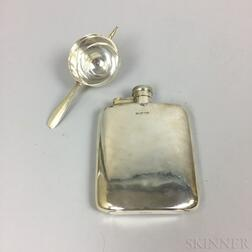 Tiffany & Co. Sterling Silver Rollover Jigger and English Mappin & Web Sterling Silver Flask