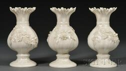Three Belleek Porcelain Ribbon Vases