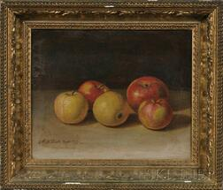 Moses B. Russell (American, 1809-1884)      Still Life with Apples.