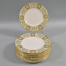 "Set of Twelve Royal Crown Derby ""Green Derby Panel"" Luncheon Plates"