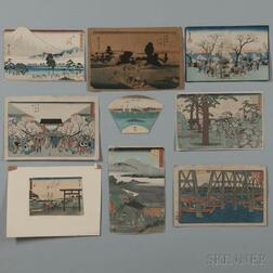 Nine Mostly Hiroshige Woodblock Prints