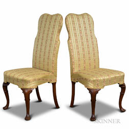 Pair of Queen Anne-style Upholstered Mahogany Side Chairs