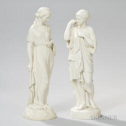 Two Copeland Parian Figures of Classical Ladies