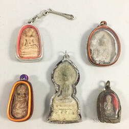 Five Small Thai Buddhist Charms