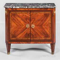 Louis XVI-style Tulipwood and Mahogany-veneered Marble-top Commode
