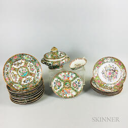 Twenty-one Pieces of Rose Medallion Porcelain Tableware.     Estimate $200-400