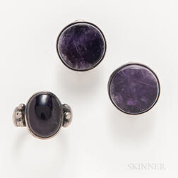 William Spratling Amethyst and Sterling Silver Ring, and a Pair of Earrings