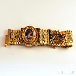 Victorian-style 14kt Gold, Enamel, and Seed Pearl Faux Slide Covered Bracelet   Wristwatch