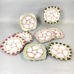 Set of Eight Ceramic Oyster Plates