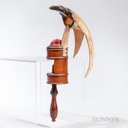 Turned Wood and Carved Horn Sewing Bird