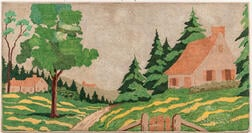 Large Hooked Rug with a Landscape with House