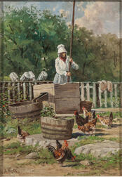 Edward Burrill (American, 1835-1913)      Pumping Water