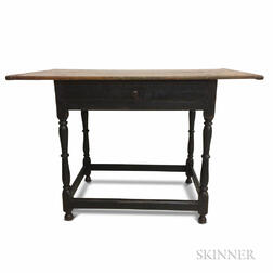 Black-painted Maple and Pine One-drawer Tavern Table