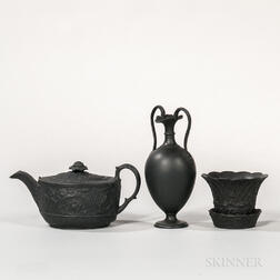 Three Wedgwood Black Basalt Items