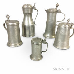 Five Continental Pewter Flagons