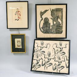 Four Asian and Middle Eastern Framed Items