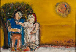 American School, 20th Century      Modernist Couple Under a Sun and Yellow Sky.