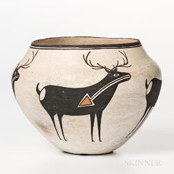 Contemporary Acoma Polychrome Pottery Jar