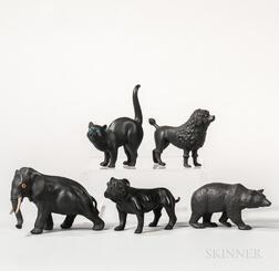 Five Wedgwood Black Basalt Animals