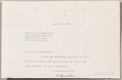 Einstein, Albert (1879-1955) Typed Letter Signed, 25 August 1947.