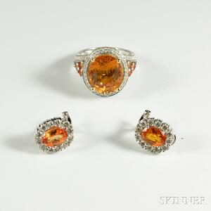 14kt White Gold, Diamond, and Gemstone Ring and Earrings