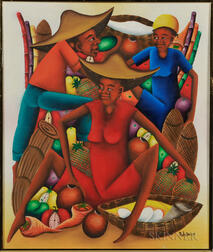 20th Century Haitian School   Oil on Canvas Depicting Women with Fruit