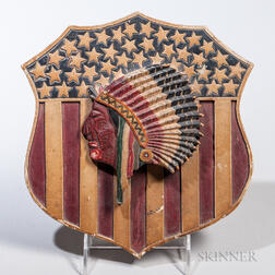 Carved and Painted Shield with Carved Indian Head