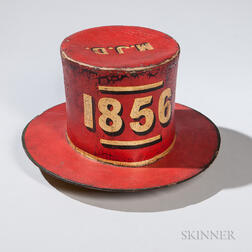 "Red-painted and Decorated ""Cohocksink Hose Company"" Parade Hat"