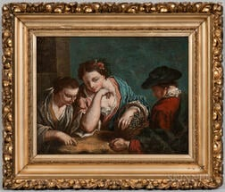 Continental School, 18th Century      Figures Exchanging Coins at a Table