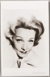 Dietrich, Marlene (1901-1992) Signed Photo Postcard.