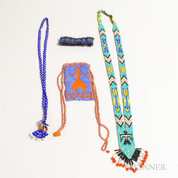 Four Southwest Beaded Items.