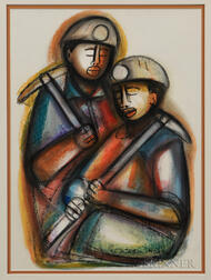 David Mbele (South African, b. 1940),   Two Miners