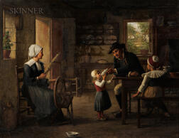 Enoch Wood Perry Jr. (American, 1831-1915)      Breton Family in a Cottage Interior