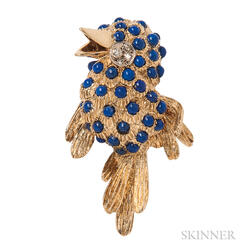 18kt Gold, Lapis, and Diamond Bird Brooch