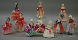 Ten Small Royal Doulton Porcelain Figures of Young Women