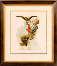 Norman Rockwell (American, 1894-1978)      Man Painting Flagpole (Gilding the Eagle)