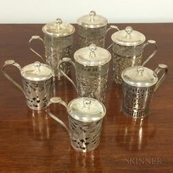 Twenty-four Silver Alloy Openwork Handled Cups