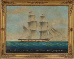 Honore Pellegrin (France/England/United States, 1793-1869)      Brig Compeer of Yarmouth. N.S. Captn Francis Moore January 3rd 1851.