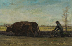 John Bernard Johnston (American, 1847-1886)      Plowing