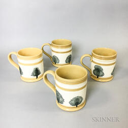 "Four T.G. Green, Ltd., Mocha ""Tree"" and Slip-decorated Mugs"