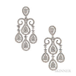 18kt White Gold and Diamond Earrings
