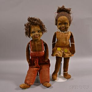 Two Norah Wellings Black Jamaican Boy and Girl Cloth Dolls