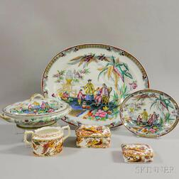 Six English Transfer-decorated Ceramic Tableware Items